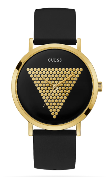 GOLD TONE CASE BLACK SILICONE WATCH