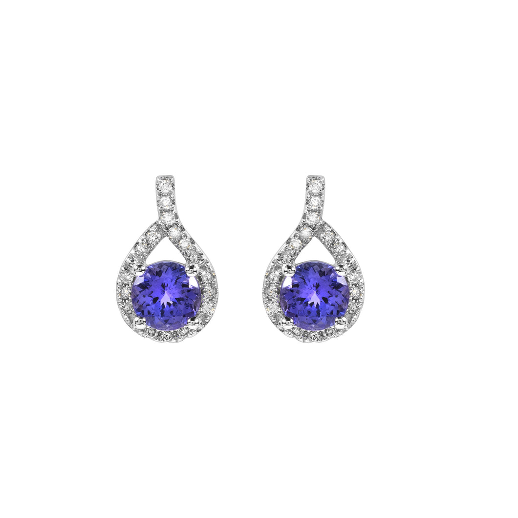 Diamond Earrings with Round Shaped Tanzanites set in 14k White Gold