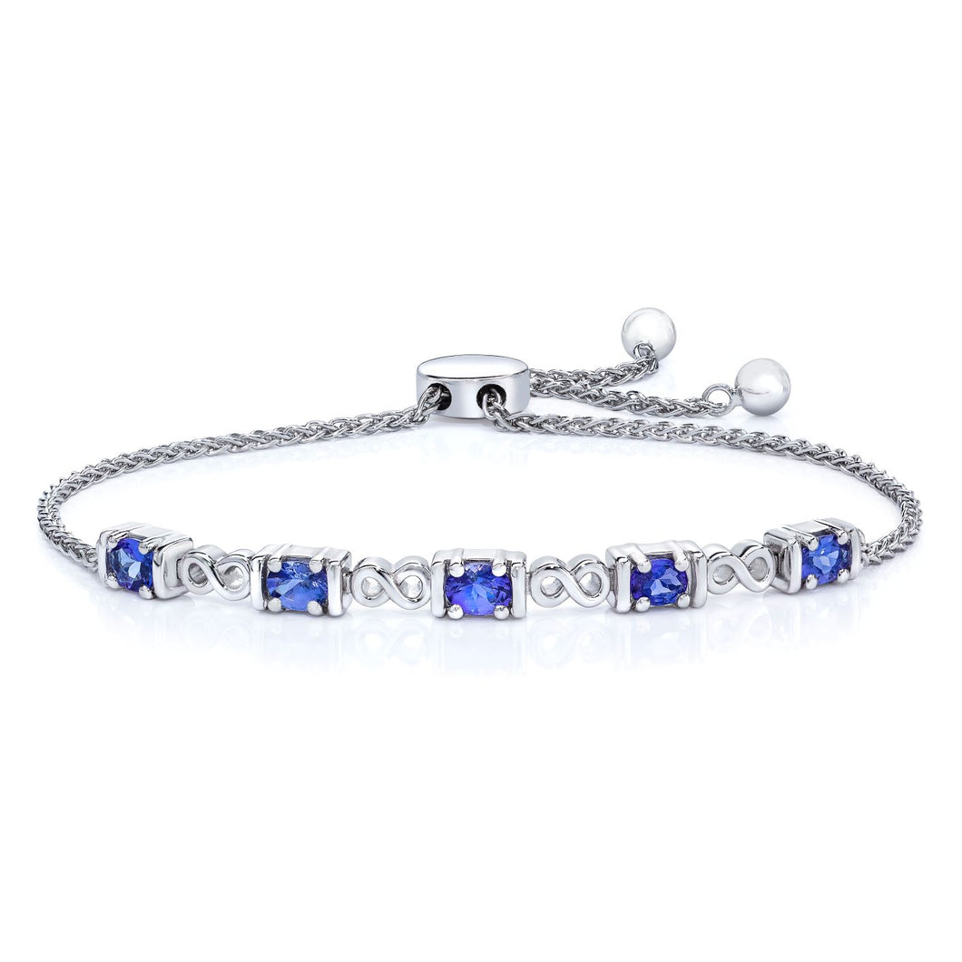 Oval Shaped Tanzanite Bolo Bracelet set in 925 Silver