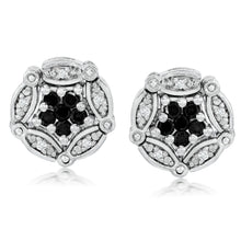 Load image into Gallery viewer, Convertible Black & White Diamond Earrings set in 925 Silver