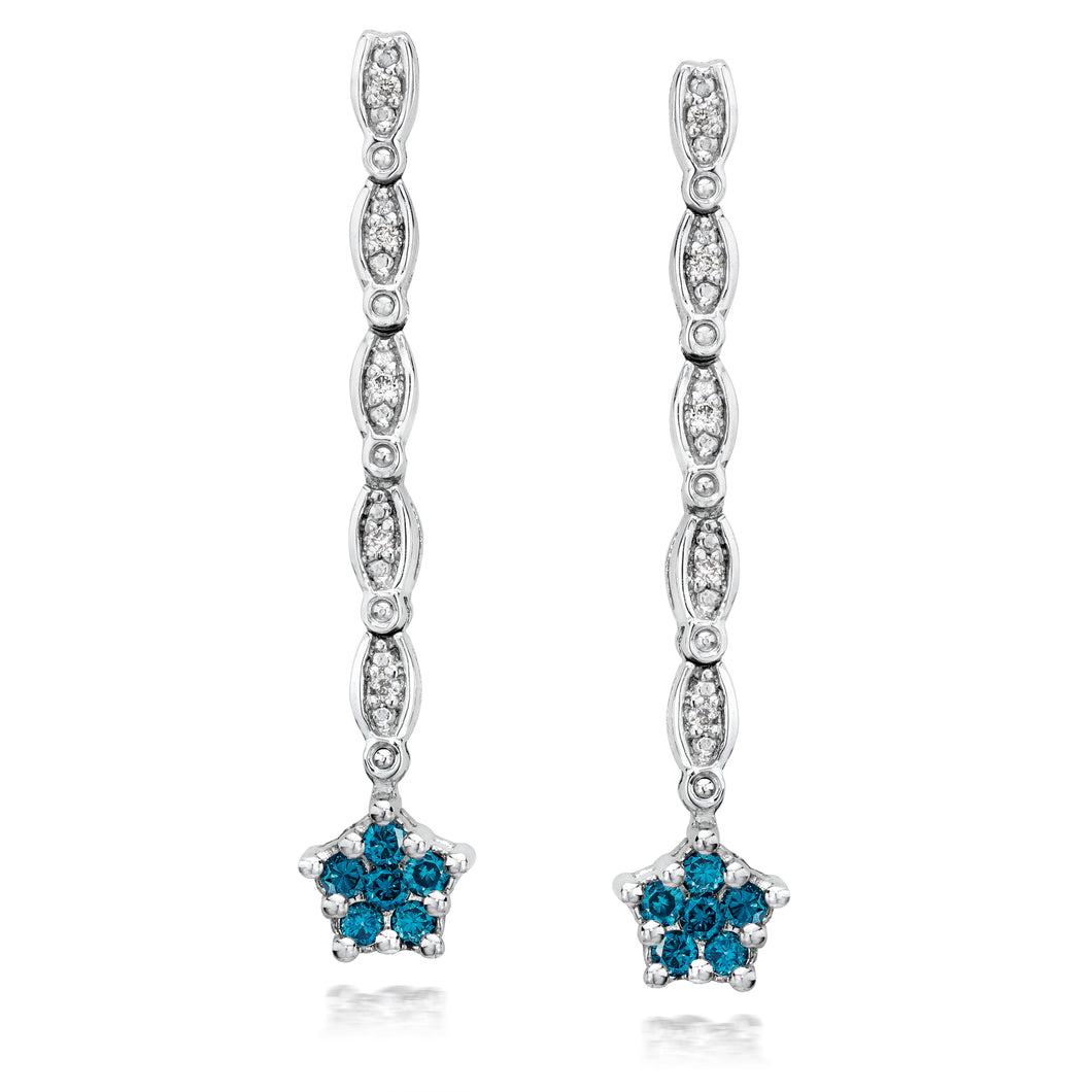 Convertible Blue & White Diamond Earrings set in 925 Silver