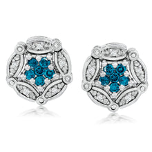 Load image into Gallery viewer, Convertible Blue & White Diamond Earrings set in 925 Silver