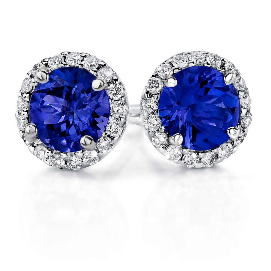 Diamond Halo Stud Earrings with Round Shaped Tanzanites set in 14k White Gold