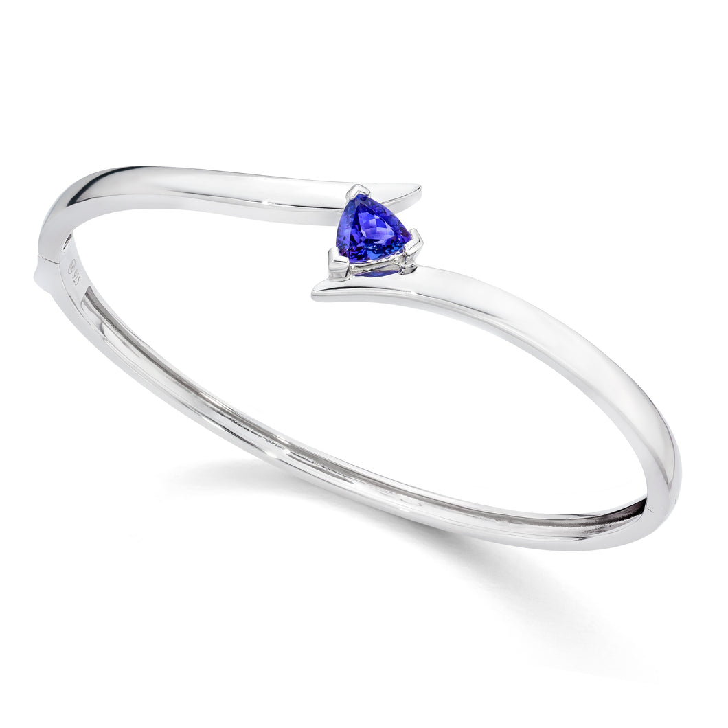 Trillion Shaped Tanzanite Bangle Bracelet set in 925 Silver