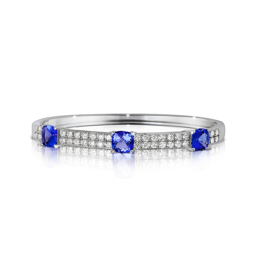 Three Cushion Shaped Tanzanite and Diamond Bangle Bracelet set in 14k White Gold