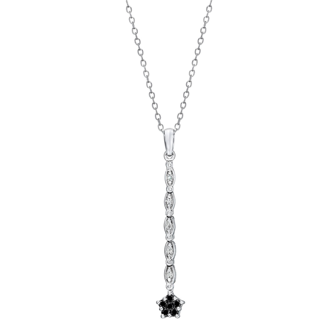 Convertible Black & White Diamond Necklace set in 925 Silver