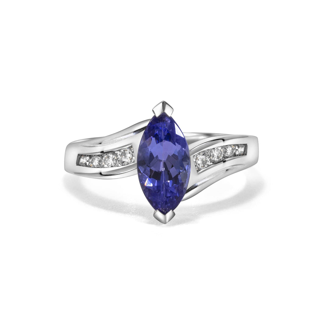 Diamond Ring with Marquise Shaped Tanzanite set in 14k White Gold