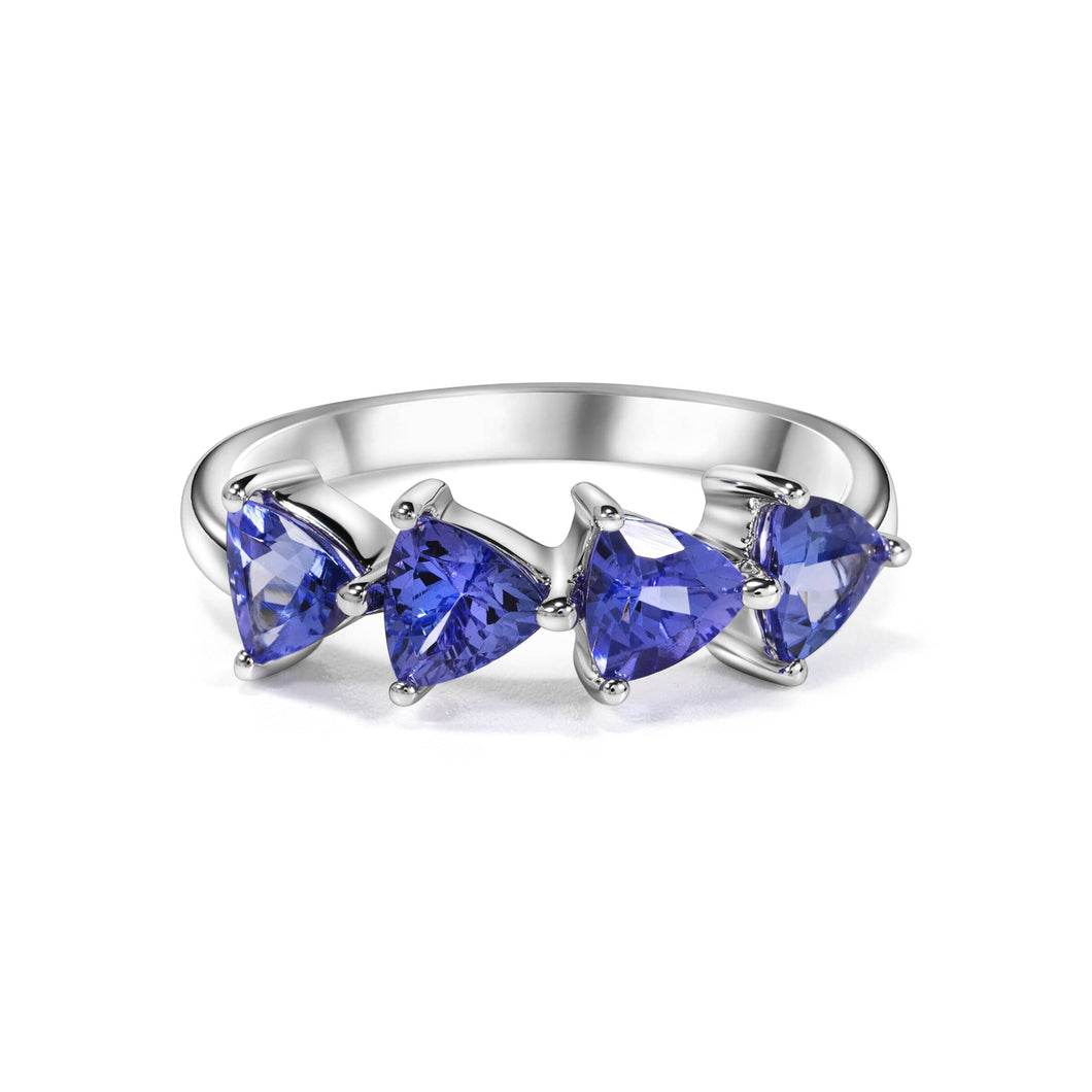 Trillion Shaped Tanzanite Ring set in 925 Silver