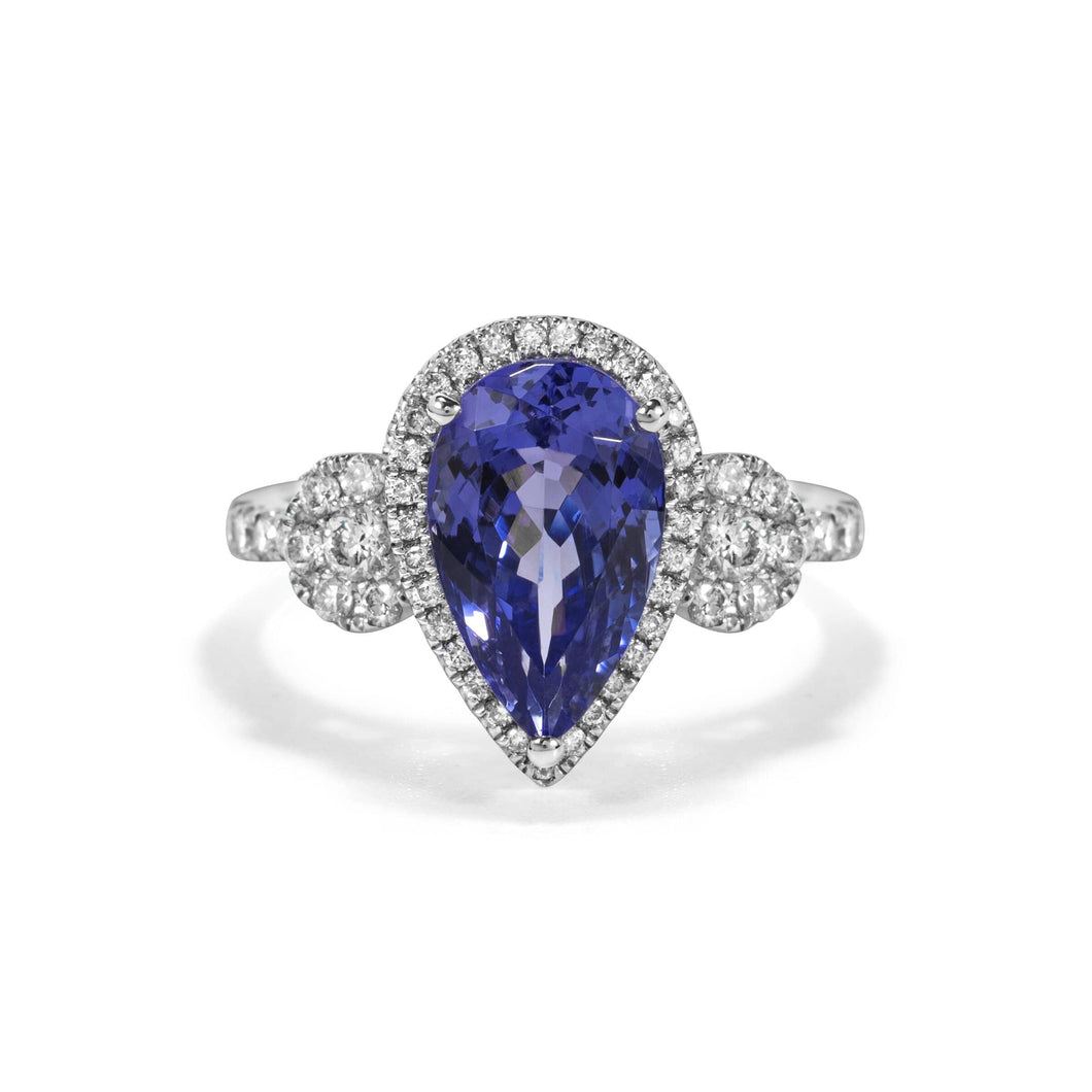 Diamond Halo Ring with Pear Shaped Tanzanite set in 14k White Gold