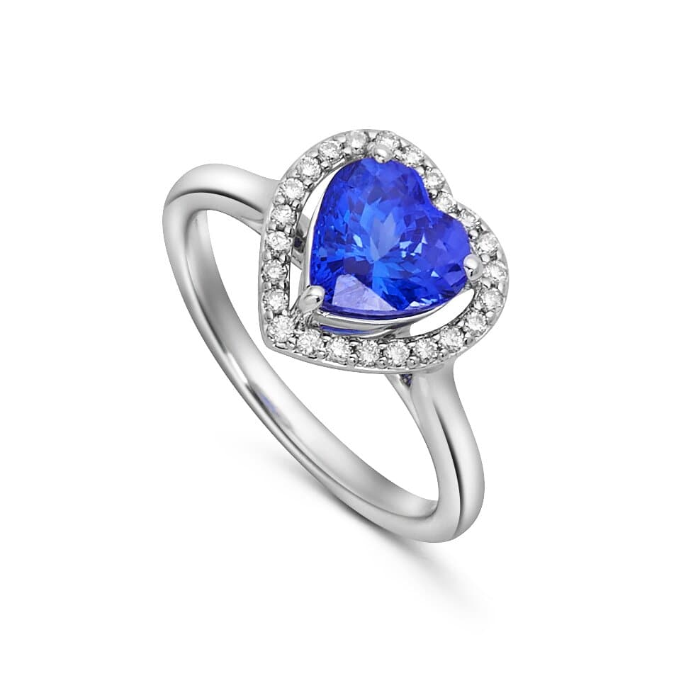 Diamond Halo Ring with Heart Shaped Tanzanite set in 14k White Gold
