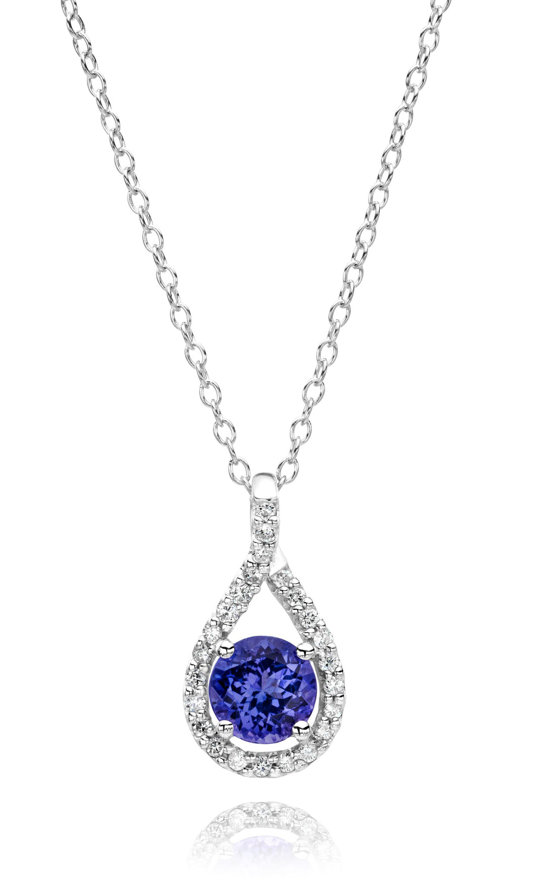 Diamond Pendant with Round Shaped Tanzanite set in 14k White Gold (chain sold separately)