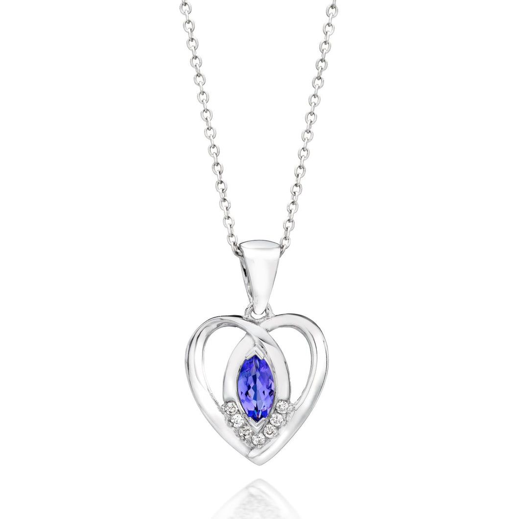 Marquise Shaped Tanzanite & Diamond Heart Pendant set in 925 Silver