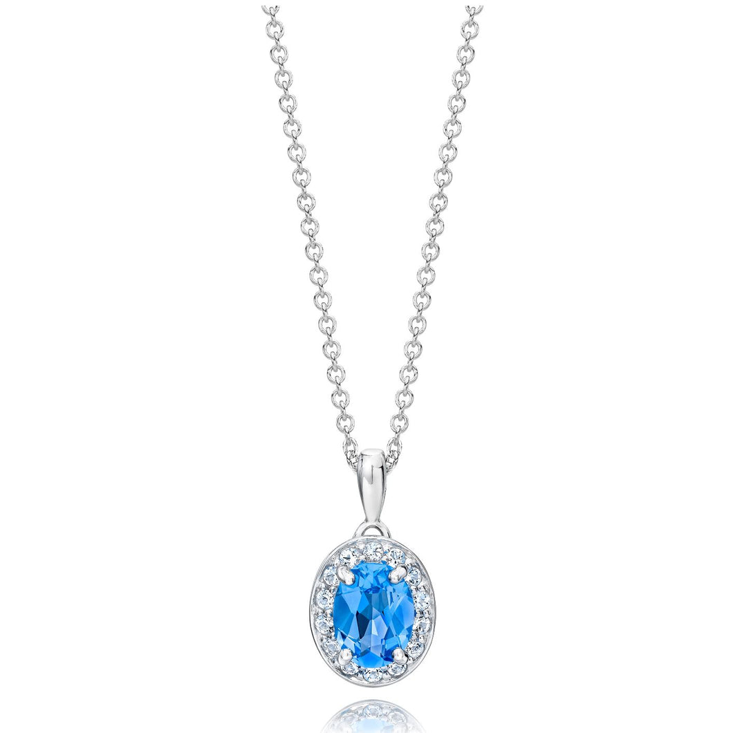 Oval Shaped Blue Topaz & White Topaz Halo Pendant set in 925 Silver