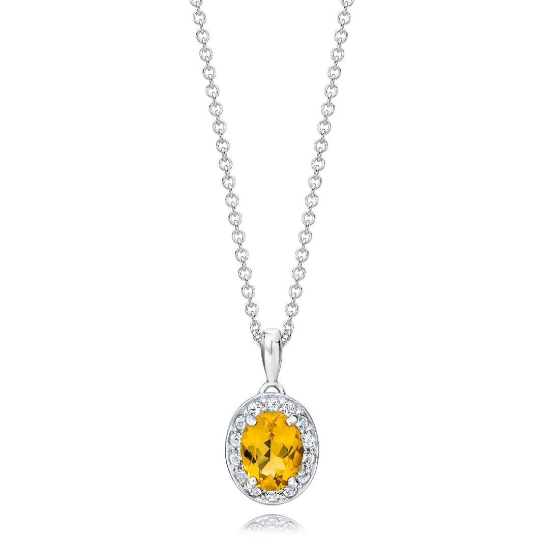 Oval Shaped Citrine & White Topaz Halo Pendant set in 925 Silver