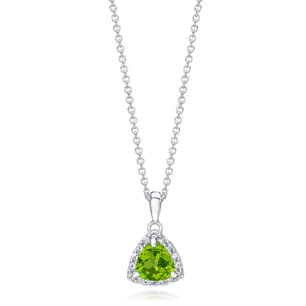Trillion Shaped Peridot & White Topaz Halo Pendant set in 925 Silver
