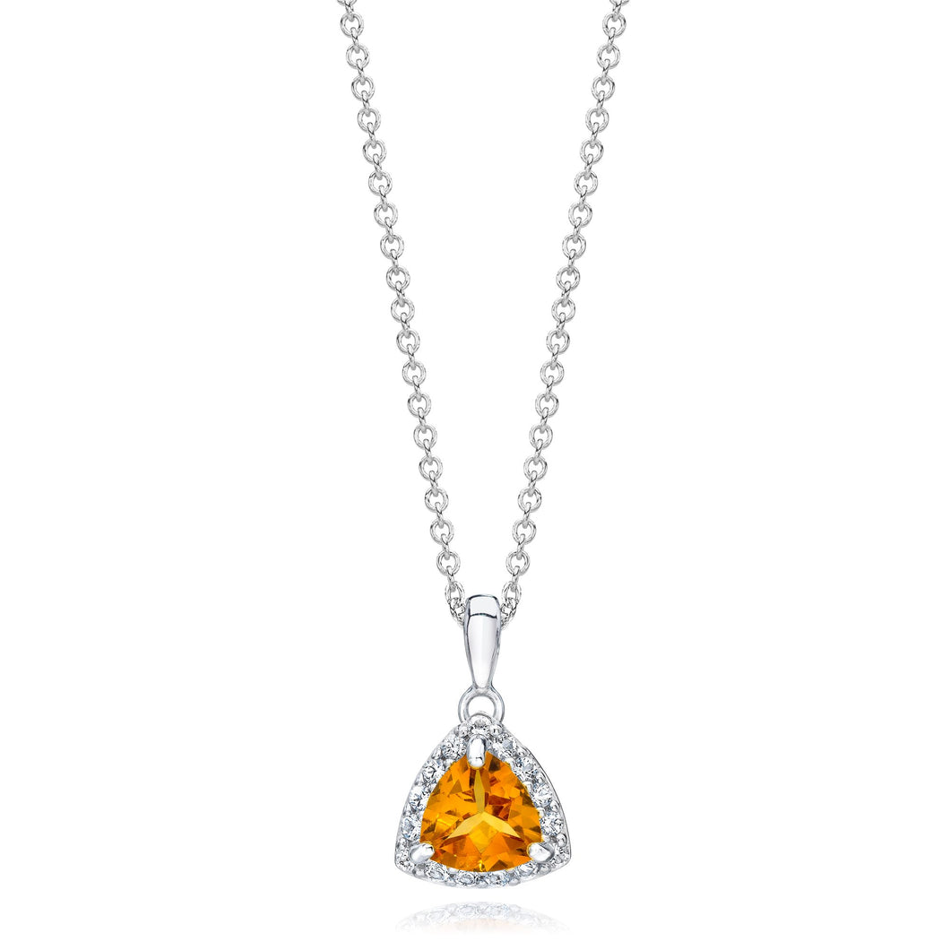 Trillion Shaped Citrine & White Topaz Halo Pendant set in 925 Silver
