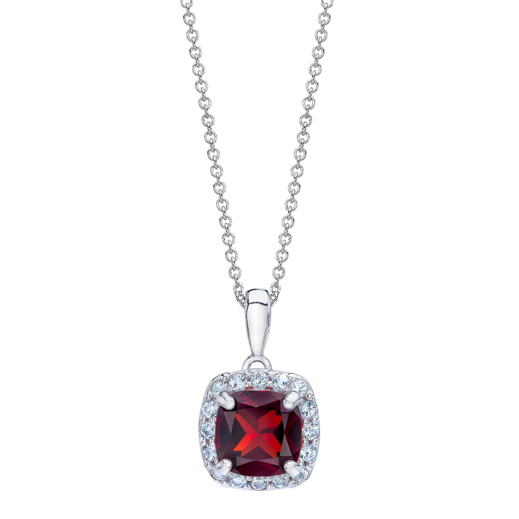 Cushion Shaped Garnet & White Topaz Halo Pendant set in 925 Silver