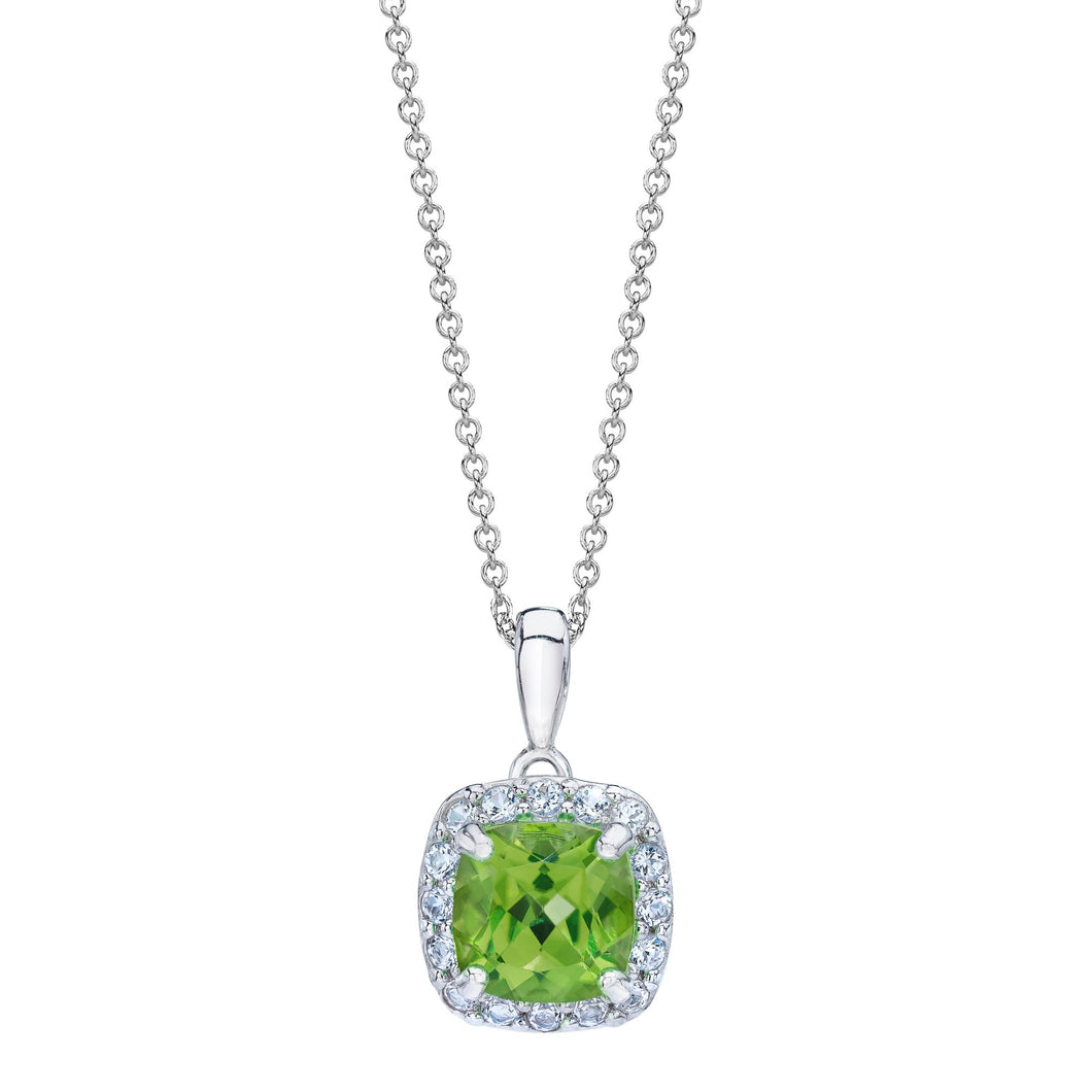 Cushion Shaped Peridot & White Topaz Halo Pendant set in 925 Silver