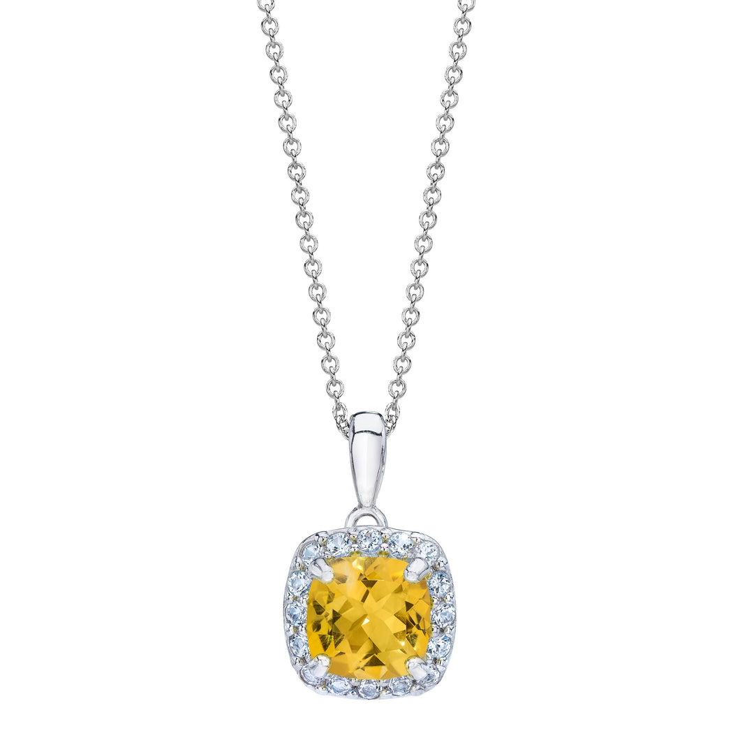 Cushion Shaped Citrine & White Topaz Halo Pendant set in 925 Silver