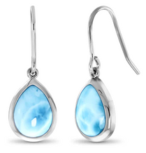 Load image into Gallery viewer, Pear Dangle Larimar Earrings