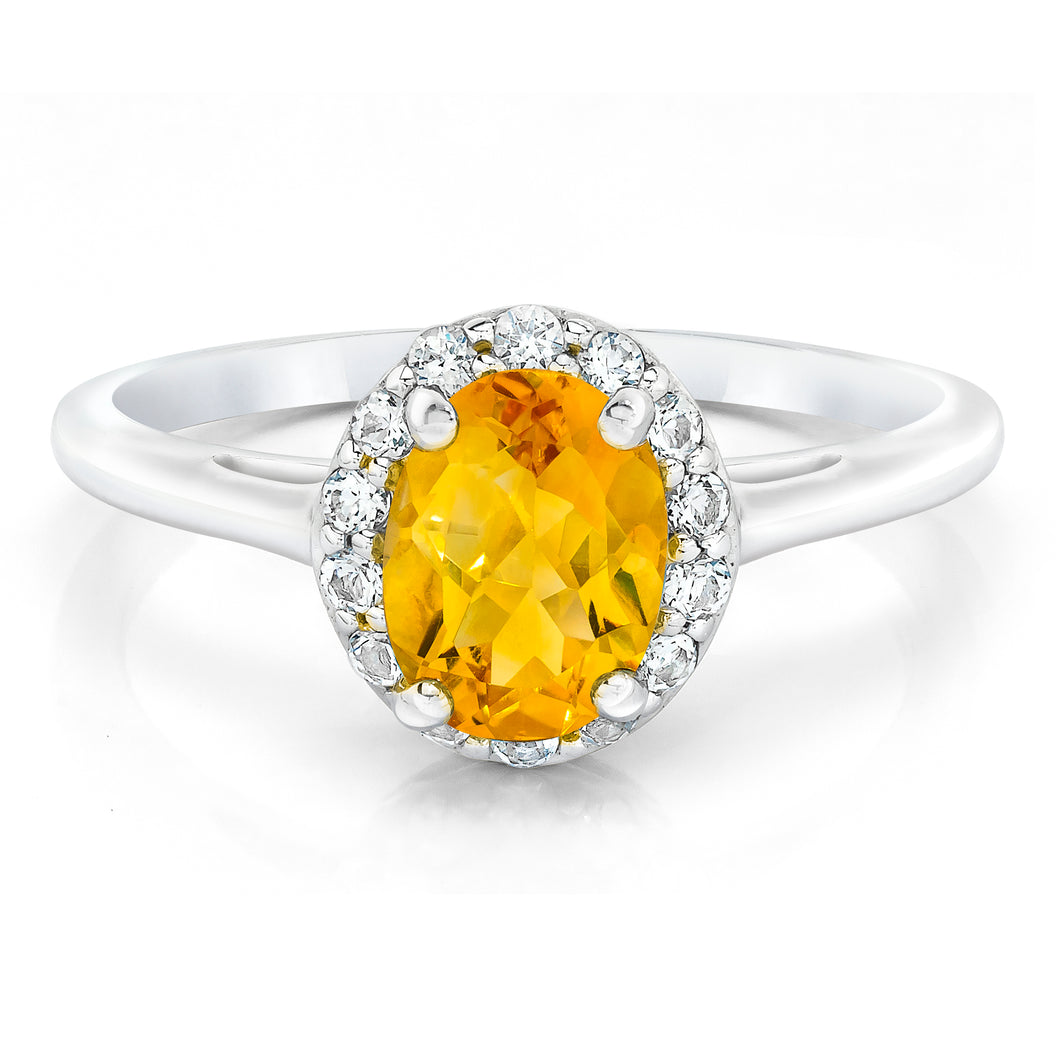 Oval Shaped Citrine & White Topaz Halo Ring set in 925 Silver