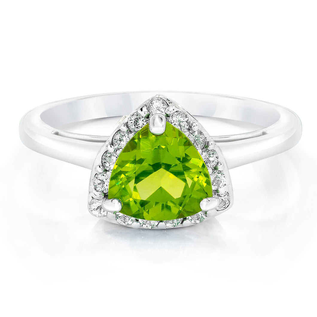 Trillion Shaped Peridot & White Topaz Halo Ring set in 925 Silver