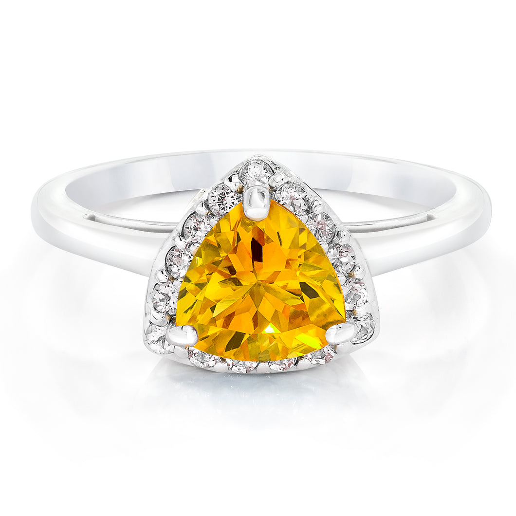 Trillion Shaped Citrine & White Topaz Halo Ring set in 925 Silver