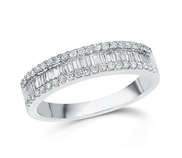 Baguette & Round Diamond Ring set in 14k White Gold