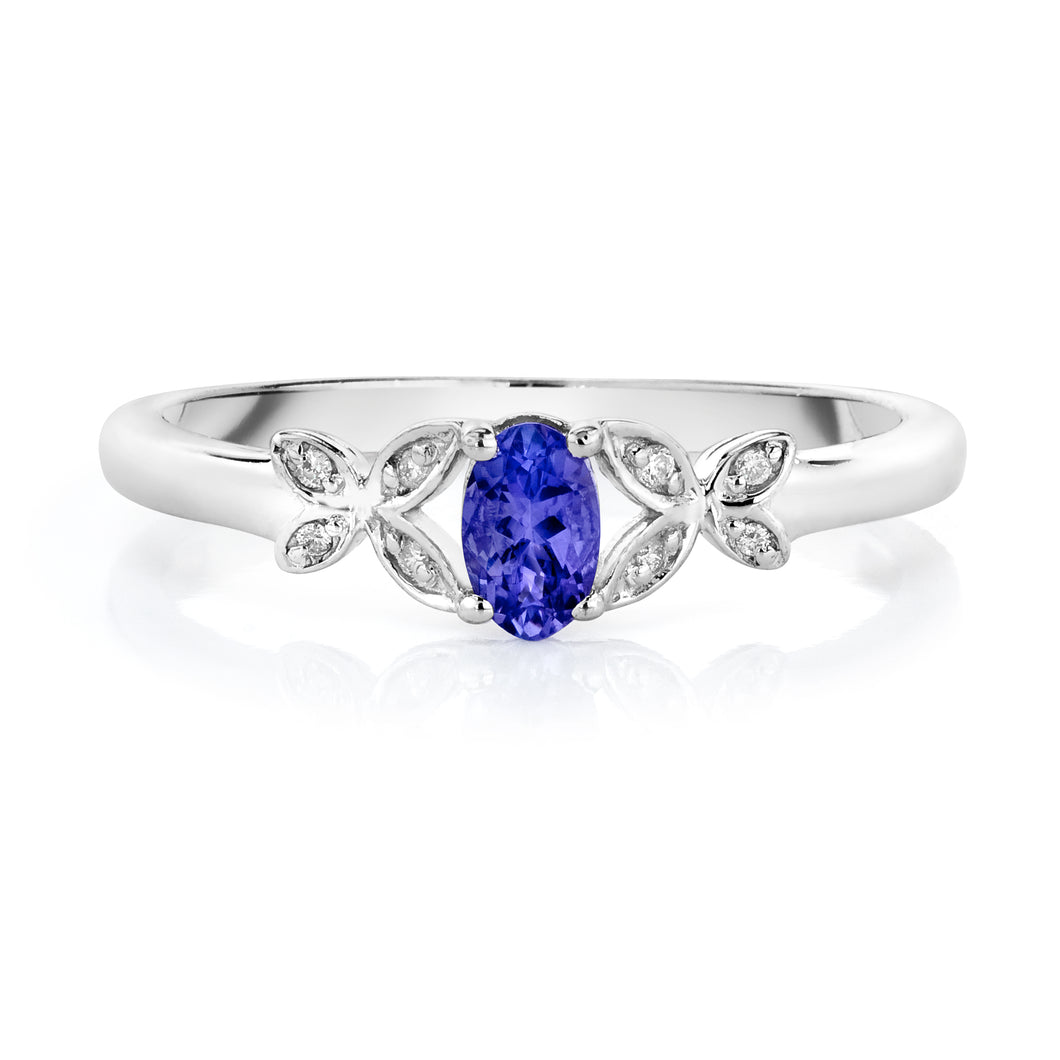 Oval Shaped Tanzanite & Diamond Butterfly Ring set in 925 Silver