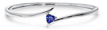 Load image into Gallery viewer, Trillion Shaped Tanzanite Bangle Bracelet set in 925 Silver