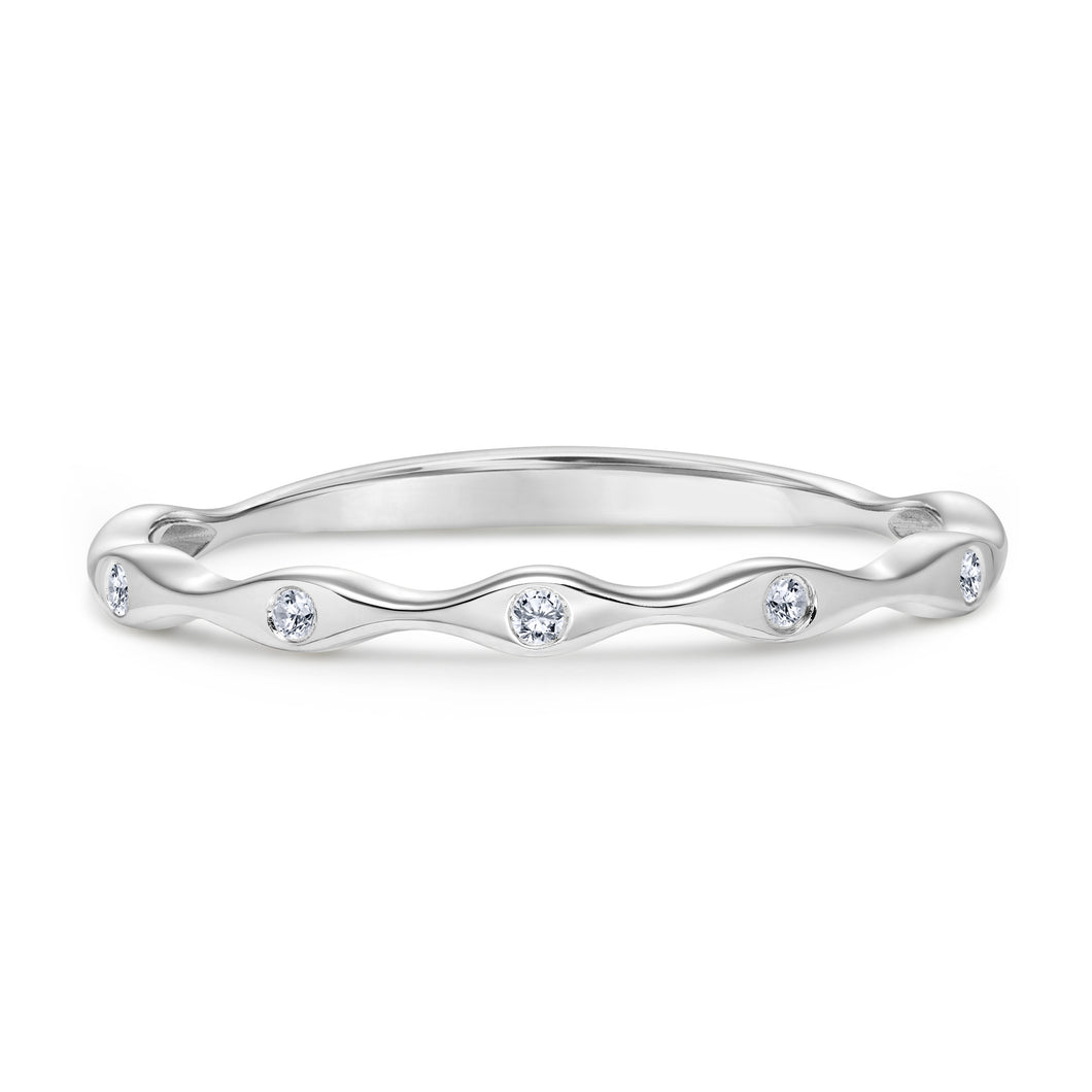 Stackable Diamond Ring set in 14k White Gold