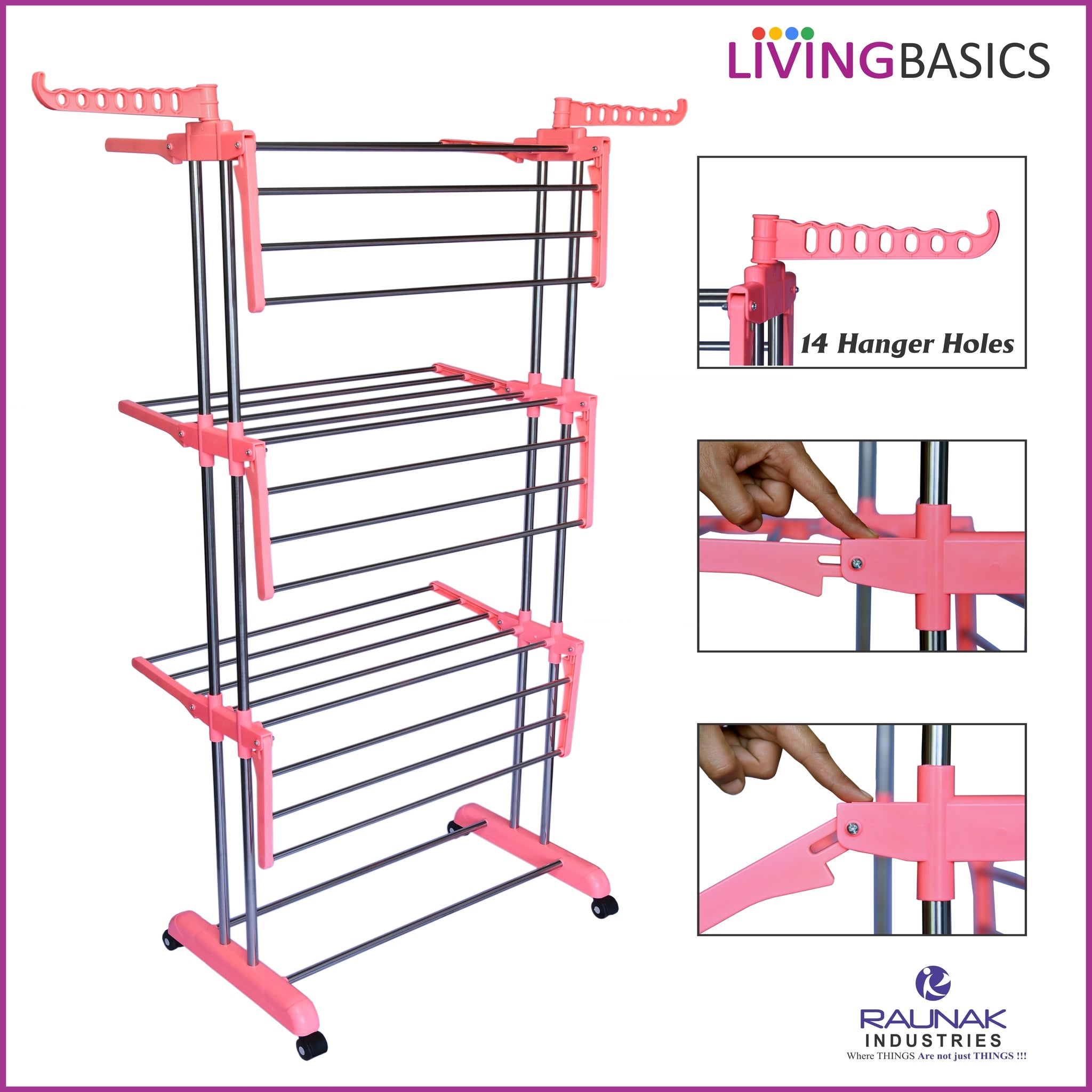 Watermelon Pink Clothes Drying Racks with Icon Cloth Clip