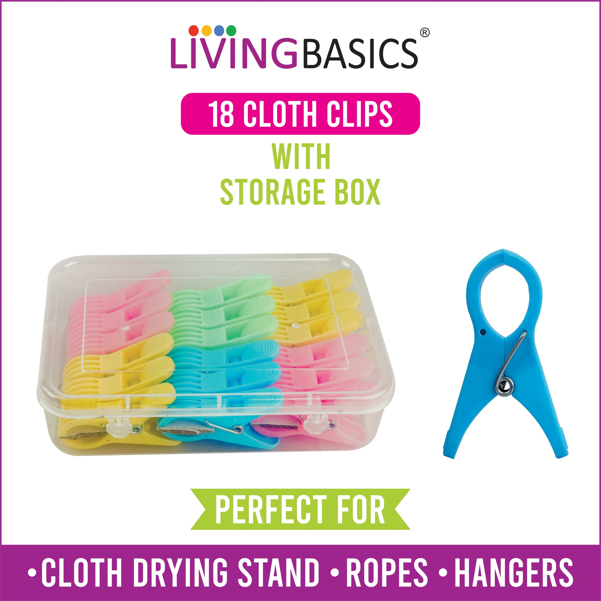 18 Rod Cloth Clips with Storage Box