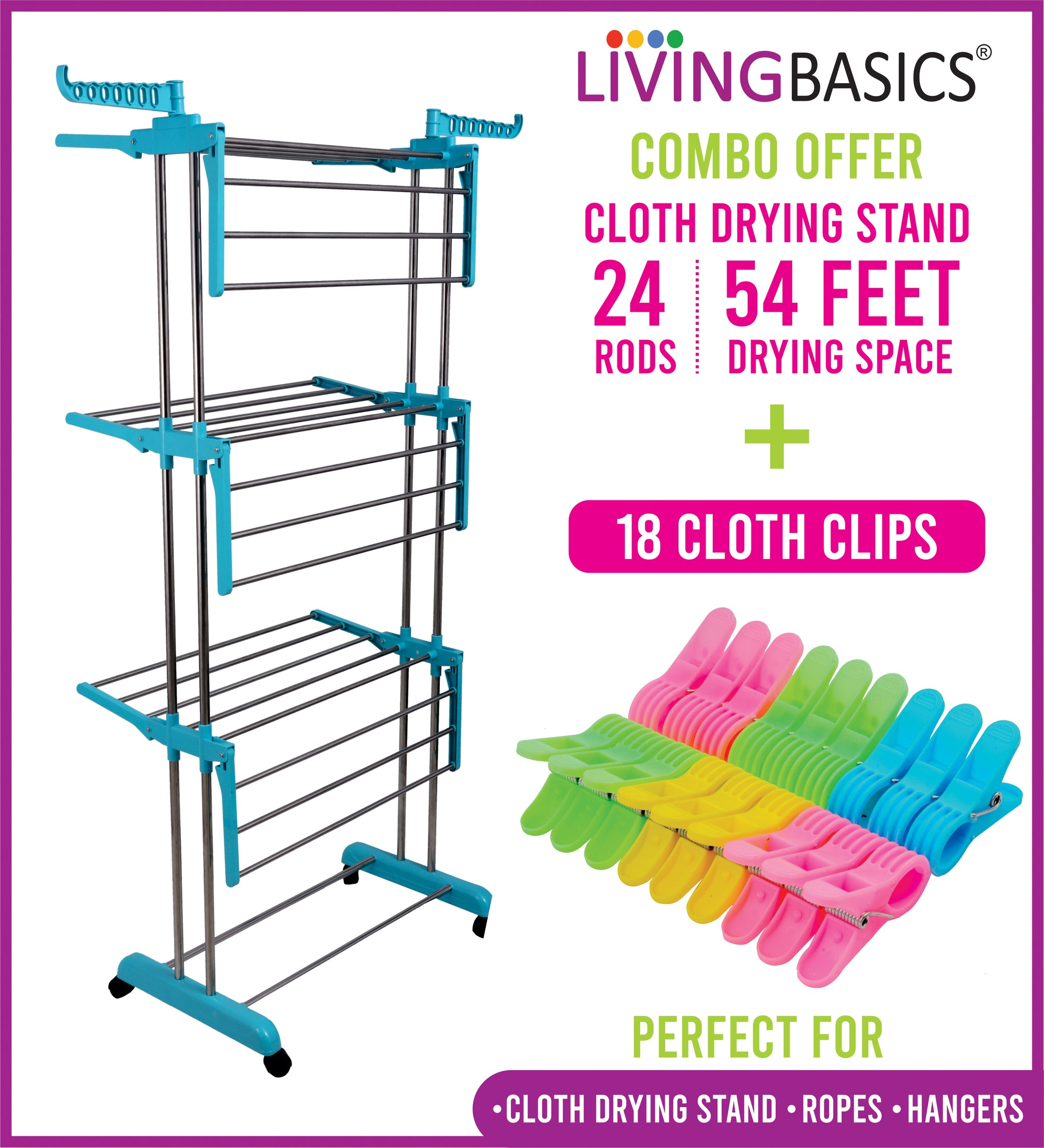 Cyan Blue Clothes Drying Racks with Rod Cloth Clip