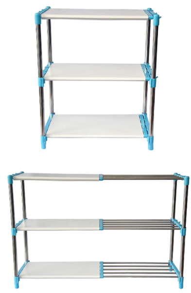 3 Layer Cyan Blue Stainless Steel Adjustable Multipurpose Stand for Storage