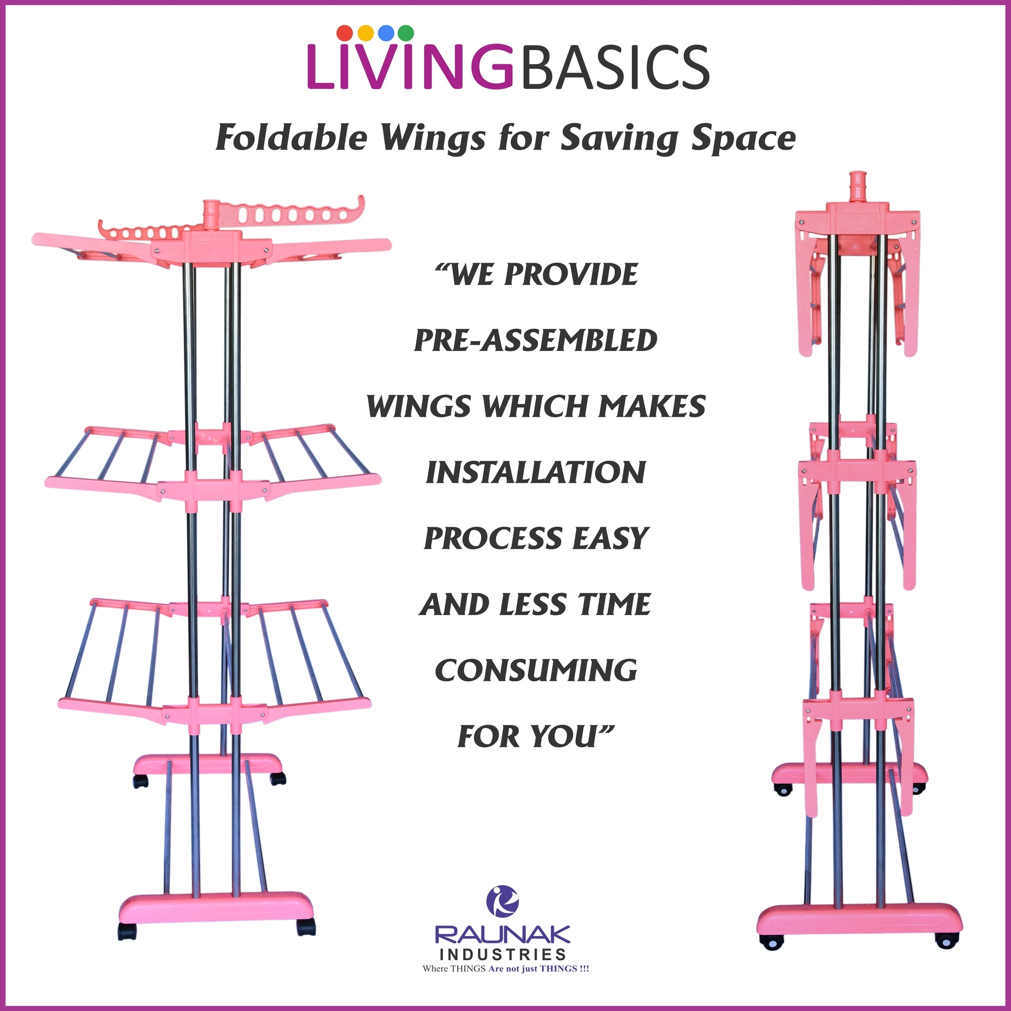 Watermelon Pink Clothes Drying Racks with Rod Cloth Clip