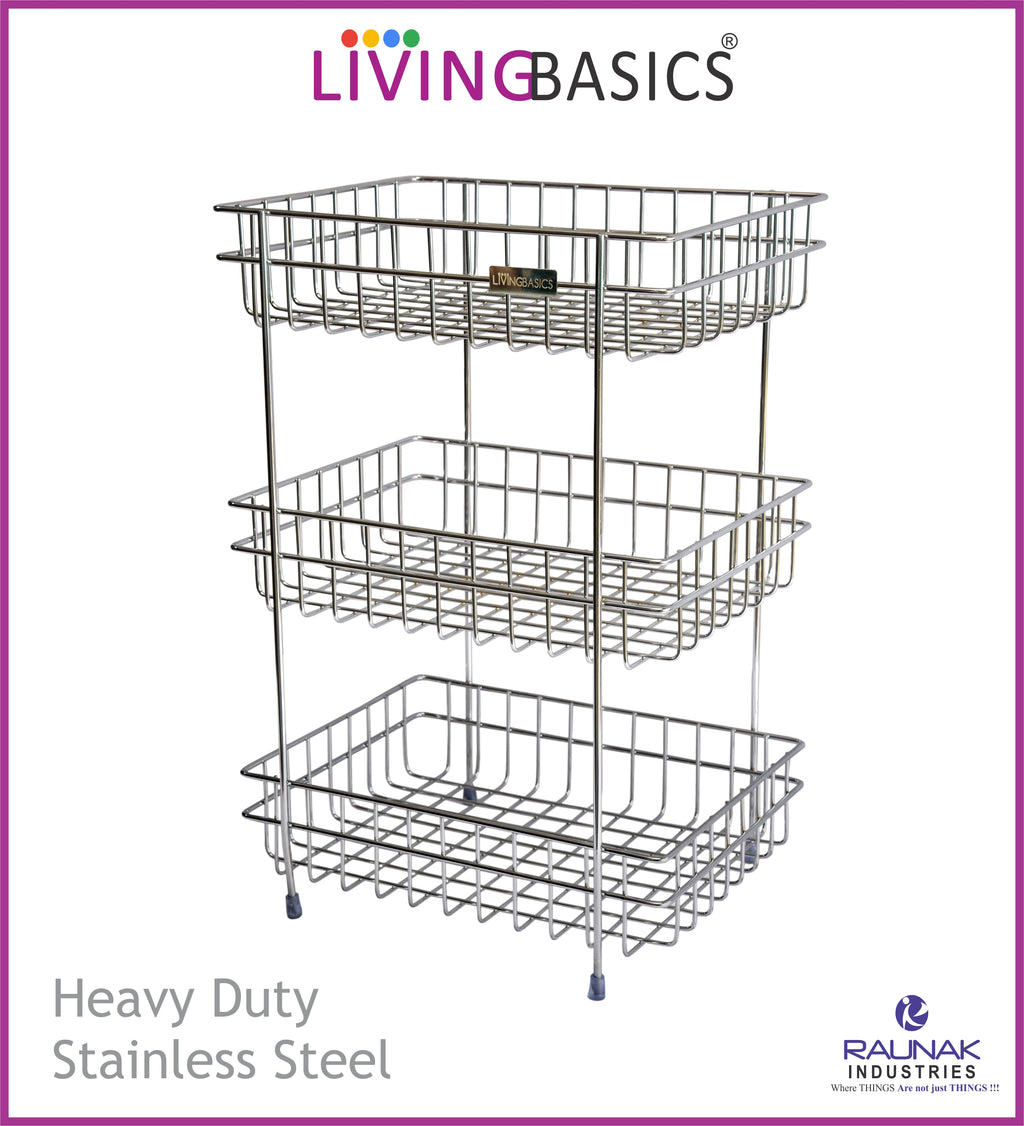 Multi Functional Household Storage 3 Tier Wire Basket Stand, Mini Countertop Organizer
