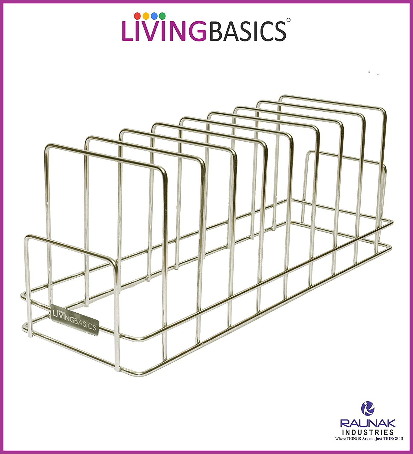 Anti Rust Stainless Steel 10 Sections Square Shape Dish Stand, Plate Rack, Lid Organizer Rack
