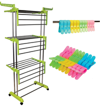 Lime Green Clothes Drying Racks with Rod Cloth Clip