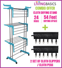 Cyan Blue Clothes Drying Racks with Icon Cloth Clip