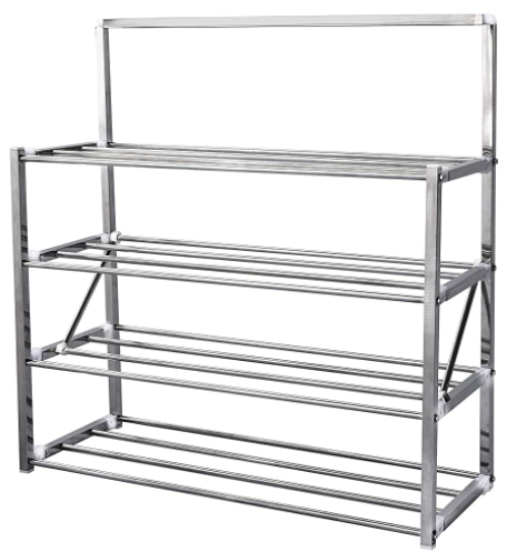Modern 4 Tier Stainless Steel Foldable Shoes Rack with Locking System