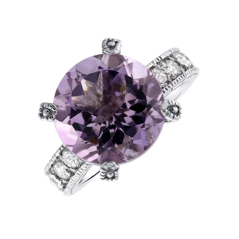 Stunning 14k white gold purple amethyst and diamond cocktail ring RN-456400