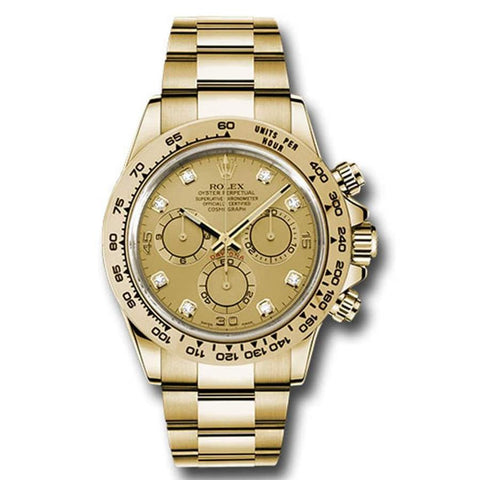 Rolex Cosmograph Daytona Champagne Dial with Diamonds18kt Yellow Gold Oyster bracelet Men's Watch 116508-0006