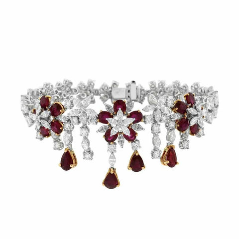 Ruby Bracelet 18k white gold with 13.96ct white diamonds and 7.85ct ruby stones BRA-2020