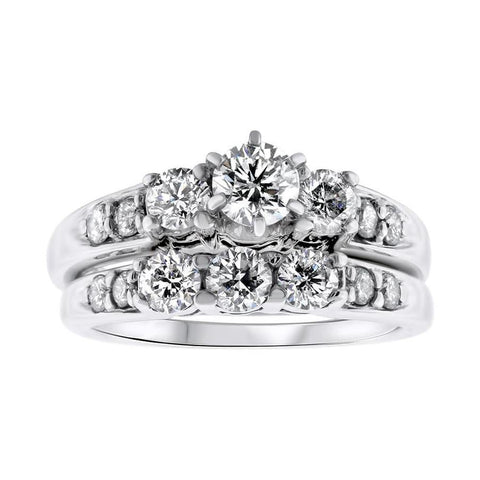 14kt White gold Two piece Engagement Ring 1.50ct Total DS-6000