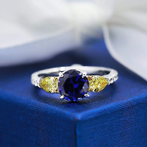 Elegant Engagement Ring with 2.00ct Center Blue Sapphire and two Diamonds ENG-12503