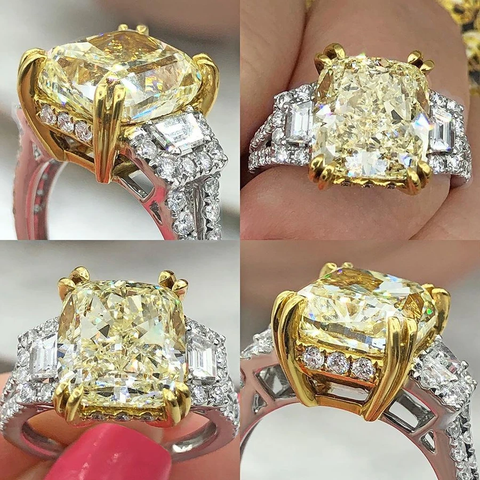 18k White Gold Two Tone Diamond Engagement Ring with 7.19ct Total Diamond Weight