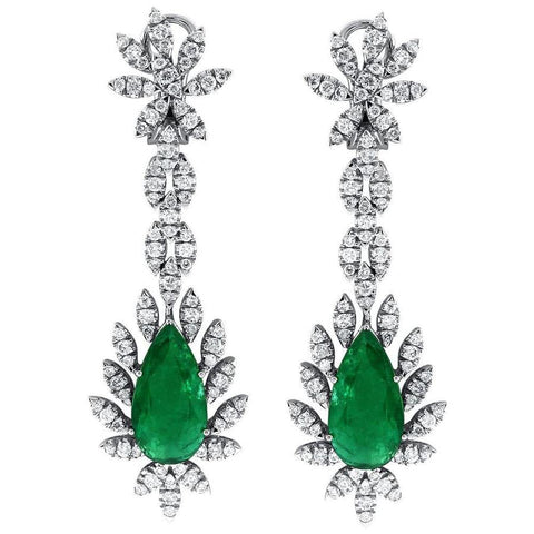 Emerald Earrings 18kt white gold with 6ctw stone and 5ct white diamonds EAR9000