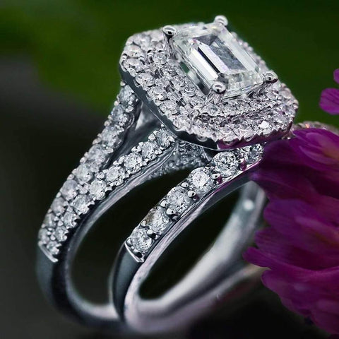 Wedding Bands Set features center 1.25ct Emerald Diamond and 1.00ct of side diamonds ENG-20005