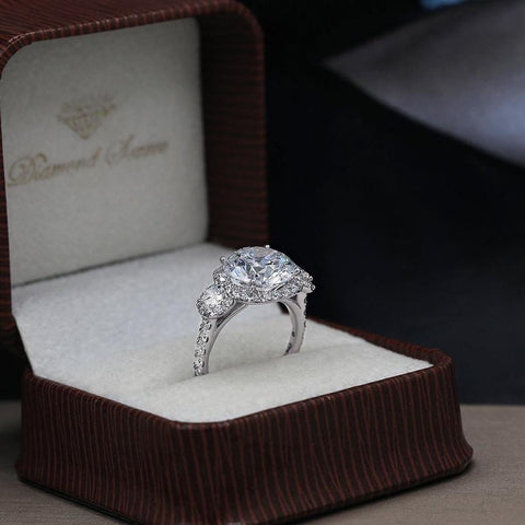 Fantastic Three stone Engagement ring with center round cut diamond ENG-64000
